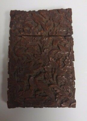 Chinese Bird Theme Hard Wood Calling Card Holder, made in Canton for export. Exc