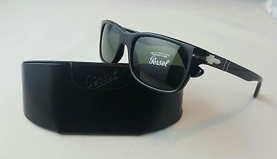457fb78f12 PERSOL PO 3048-S 95 31 BLACK SUNGLASSES w TEMPERED GLASS LENS HAND MADE
