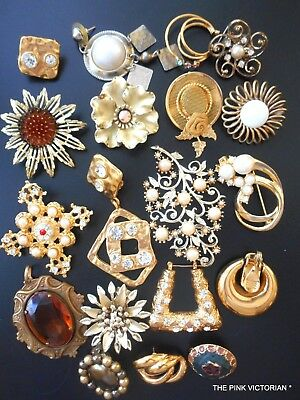 VINTAGE JEWELRY COLLECTION for CRAFTS or HARVEST gold tone theme UNIQUE pieces