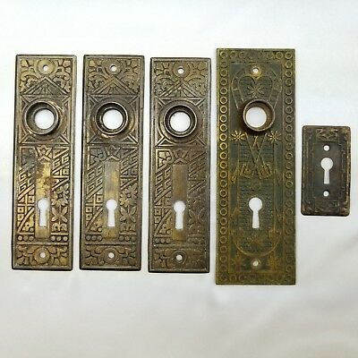 5 Vtg Brass Door Knob Back Plate Lot Skeleton Key Hole Victorian Eastlake Ceylon
