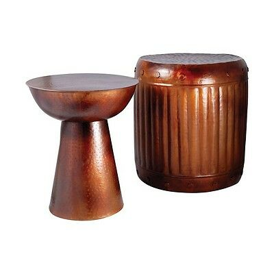 Pomeroy Truffle Set of 2 Table and Barrel Stool French Antique Copper