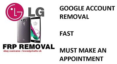Remote Service Google Account Removal Reset FRP Bypass LG G3 G4 G5 G6 V10 V20 ..