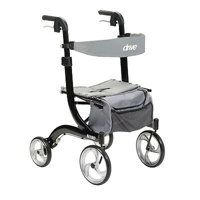 Drive Medical Nitro Euro Style Black Rollator Walker Black RTL10266BK