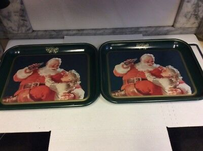Coca Cola Santa with Little Girl Tray 1983 Near Mint Condition LOT OF 2