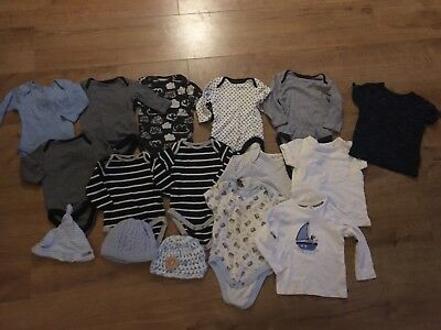Baby Boys 0-3 & 3-6 Month Bundle. Mainly Next. Body Suits, Hats, T-shirts