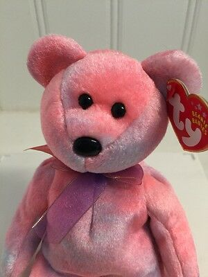 Ty Beanie Babies ~CLUBBY V Bear NWT new retired pink plush toy