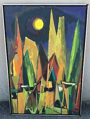 Vtg Abstract Expressionist Painting Mid Century Modern Atomic Retro Geometric