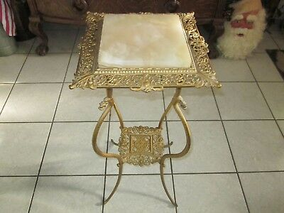 Vintage Victorian Brass & Marble Top Filigree Table Plant Stand