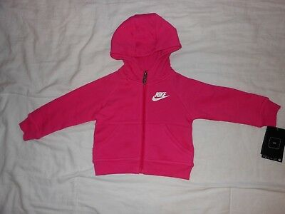 NWT Nike Baby Girls pink hoodie, Size 12M and 24M