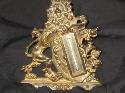 Antique Bradley & Hubbard Victorian Gilded Brass Lion Thermometer Working Signed