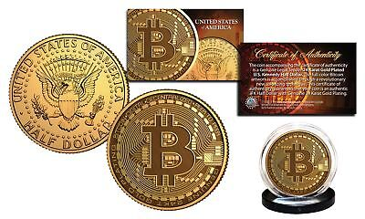BITCOIN Physical Commemorative Crypto 24K Golden Clad JFK Half Dollar U.S. Coin