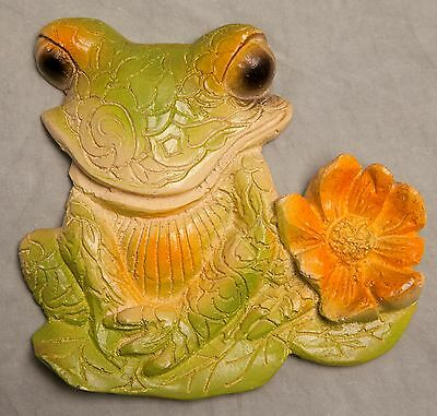 Vintage Frog Toad Wall Hanging Decor Green Orange Flowers