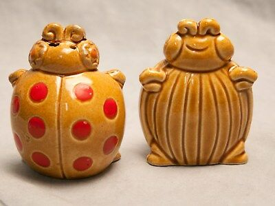Vintage Pair of Ladybug Salt & Pepper Holders with Stoppers Happy Silly Japan