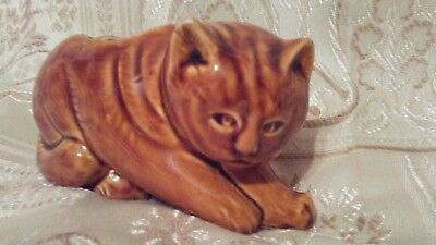 Ceramic Brown Tabby Cat Novelty Ashtray Or Small Planter Or Toothbrush Holder