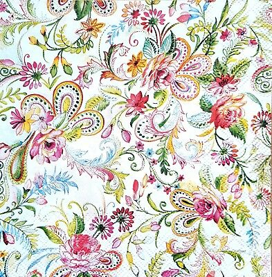 4 lunch paper napkins for decoupage craft vintage napkin flowers mosaic