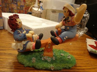 """Raggedy Ann and Andy with a Teeter Totter """"Friendship is a Contract""""  Enesco"""