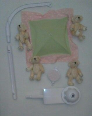 Bears Baby Crib Mobile Pink Green Girl Musical