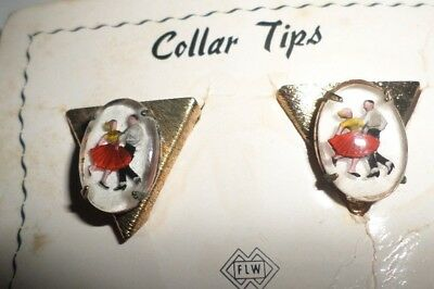 Vtg Western Square Dance Shirt Collar Decorative Tips Figurals Old new stock
