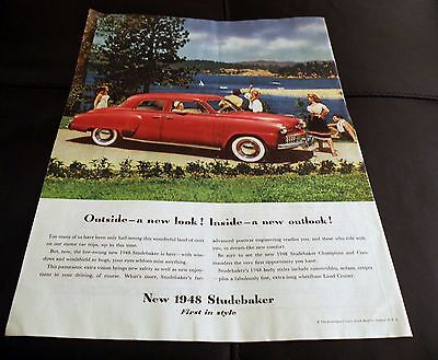 Studebaker 1948 Colliers Full Page Ad Beautiful Color Great Graphics!