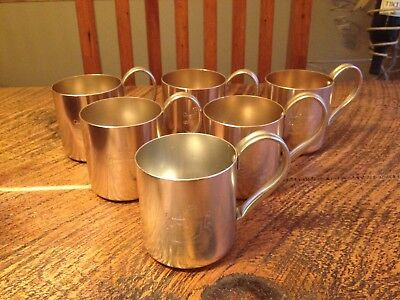 Vintage Lot Of(6) Aluminum Moscow SMIRNOFF Mule Mugs Made in Hong Kong