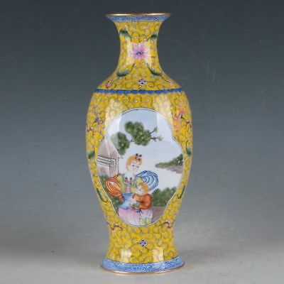 Chinese Cloisonne Handmade character Vase W Qianlong Mark  DY427