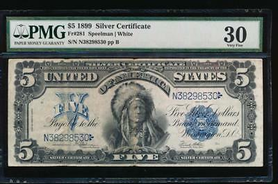 AC Fr 281 1899 $5 Silver Certificate PMG 30 comment CHIEF NOTE