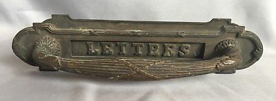 RARE Antique Cast Bronze MAIL LETTER SLOT Pull DOOR HANDLE Old Vtg  327-17J