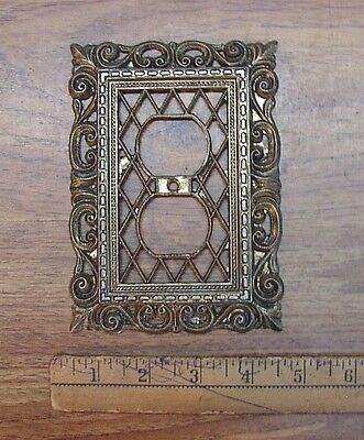 Vintage 1968 American Tack & Hdwe. Fancy Outlet Cover,Art Deco Diamond Pattern