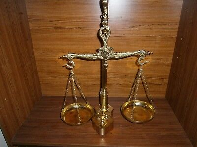 Large Vintage Brass Hanging Scales-Serpent / Snake Head & weights