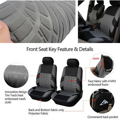 Pair Car Washable Seat Cover Cushion Protector Black+Gray Polyester Four Seasons