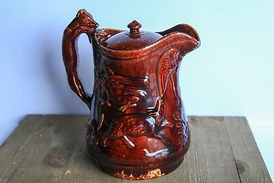 Large Rockingham Bennington Lidded Hunting Scene Pitcher Hound Handle Stoneware