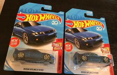 Hot Wheels : Lot Of (2) Nissan Skyline Gt-R (R33)Then And Now 6/10 Bnip