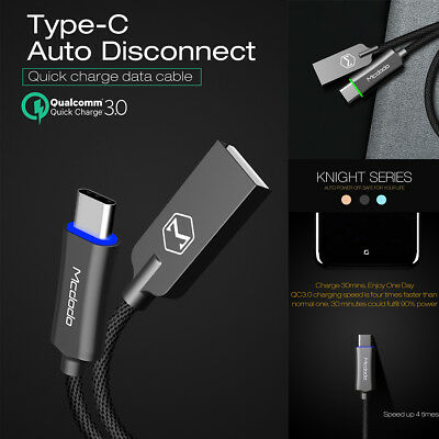 Mcdodo USB-C Type-C QC 3.1 LED Auto Disconnect Quick Charger Data Charging Cable