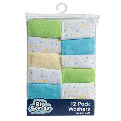 12 Pack Baby Washers - White, Blue, Green and Yellow