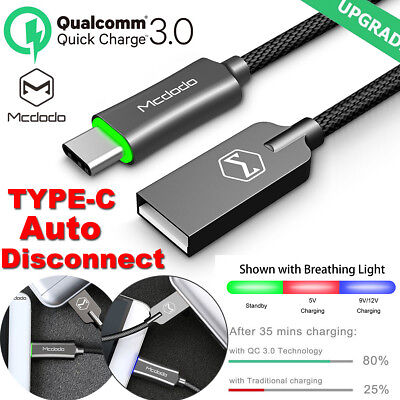 MCDODO QC3.0 LED Auto Disconnect Type-C USB-C Fast Charging Cable Samsung S8 S8+