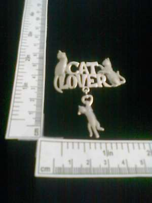 Cat Lover Pin With Heart Kitten Dangle JJ Original Pewter Pin
