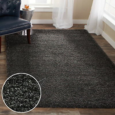 Soft Charcoal Grey Bedroom Shaggy Rugs Fluffy Warm Easy Clean Living Room Rugs