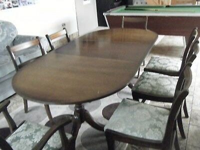 Dining Room Table Wooden And 7 Chairs Three Sections Folds Away