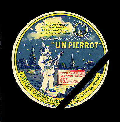 Vintage French Cheese Label: Original Fromage Un Pierrot, France