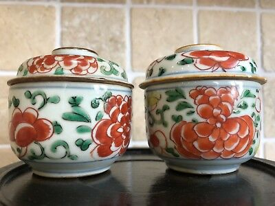 2 Chinese antique kangxi famille verte pots with lids 18th century 康熙红绿彩