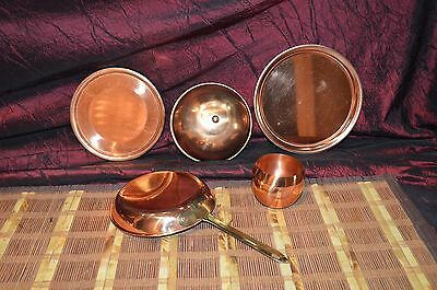 Assorted Copper 5 Piece Lot w/ Small Bowl 2 Plates Pan, Dome Brass Knob & Handle
