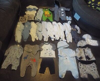 premature early baby tiny baby boys clothes bundle