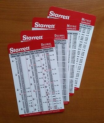 6-pack  Starrett Machinist Cards Decimal Metric Fractions Tap Drill Pocket Chart