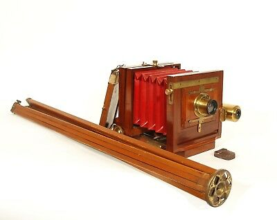 "Exceptionally Nice 1885 American Optical 4 x 5 Antique Wood ""76"" Pocket Camera"