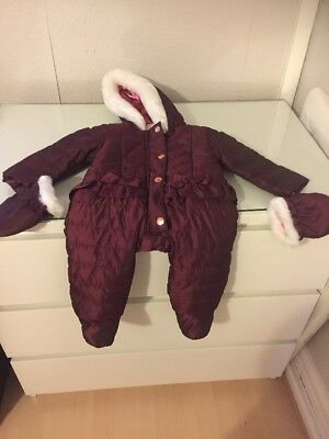 Designer TED BAKER BABY Girl's Snowsuit With Mittens 3-6 Months New With Tag