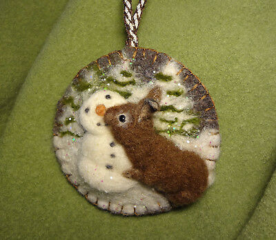 OOAK SNOWMAN WITH RABBIT ORNAMENT SOFT SCULPTED ON VINTAGE WOOL by Renate'