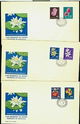 1972 Nymphaea lotus,Pink,Edelweiss,Lady's Slippers,Peony,Flower,Romania,3023,FDC