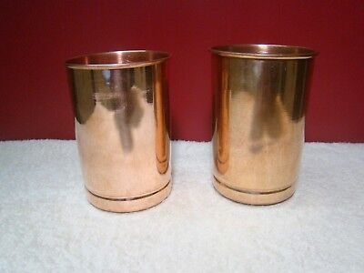 Copper Glass 2x Pure Cup 300ml Tumbler Drinking Water Ayurveda Yoga Free Ship