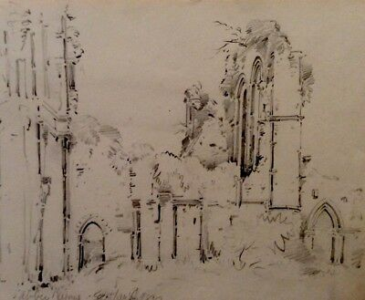 1830 Pencil Drawing,Old Abbey In Scottland,Drawing Shows Us Beauty In The Ruines
