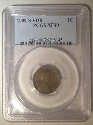 1909-S VDB * PCGS XF40 * LINCOLN Wheat Ears Reverse Cent * STRONG Strike & VDB !